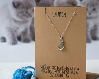 Crazy cat lady necklace, cat with whiskers