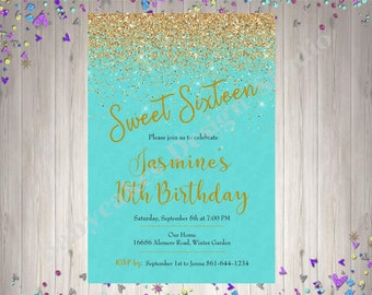 Sweet 16 Birthday Invitation invite sweet 16 party sweet sixteen birthday party invitation invite aqua gold confetti