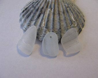 White Genuine Beach Glass Bottlenecks - Top Drilled - Sea Glass Jewelry Supply