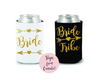 Bride Tribe Drink Coolers Bachelorette Party Favors Gold Glitter Drink Cooler Favors Bachelorette Survival Kit Bottle Can Holders Stagette
