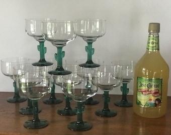12 Vintage Cactus Stem Margarita Glasses