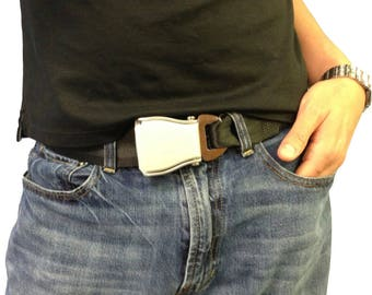 """The Flybuckle™ - Fashion Belt made with Airplane Seat Belt Buckle and Actual Seat Belt Strap - X-Small (30""""/76cm) - Black"""