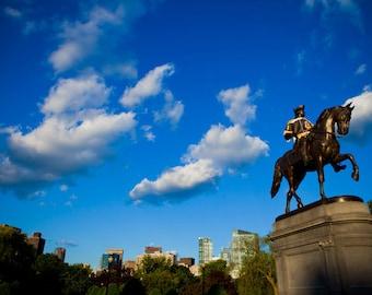 Boston Art - Boston Public Gardens - Geroge Washington Statue - Boston Bruins Jersey - Cityscape - Boston Photography - Fine Art Photography