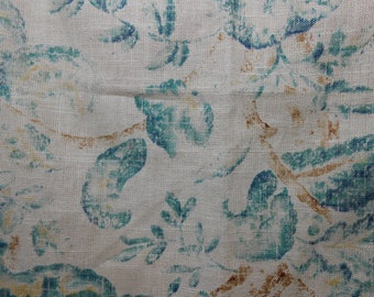 Rustic Blue Floral Remnant Fabric, 5.9 Yard Piece, Sewing, Bedding, Home Decor