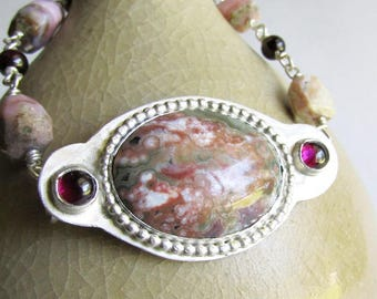 Ocean Jasper Bracelet with Garnet and Raw Pink Opal - Link Bracelet - Ocean Jasper Jewelry - Anniversary Gift - Birthday Gift