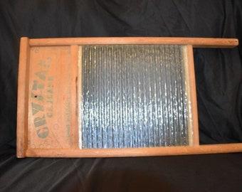 Crystal Primitive Wood/Glass Lingerie Wash Board