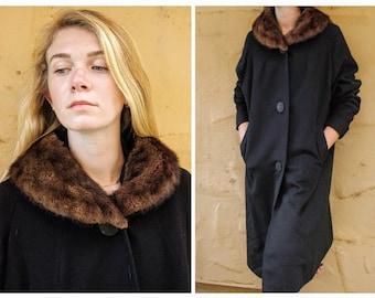 OLDER Vintage 40s/50s Black Wool & WILD  MINK fur Collar Car Coat - 1940s (Large/Extra Large)
