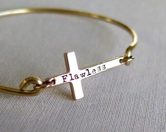 Personalized Cross Bracelet, Gold Cross Bangle Bracelet, Sideways Cross Bracelet, Layered Bracelet, Christian Jewelry, Cross Bracelet