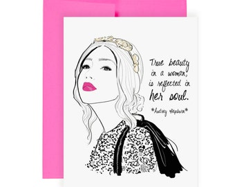 Soul Beauty - Greeting Card, Just Because Card, Art Card, Fashion Illustration, Audrey Hepburn Quote, Stationery