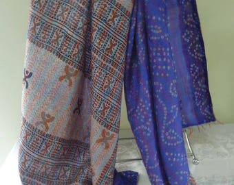 Vintage silk Kantha, FREE SHIPPING, wrap, large silk scarf, reversible, sapphire and gray, table runner, home decor, furniture cover
