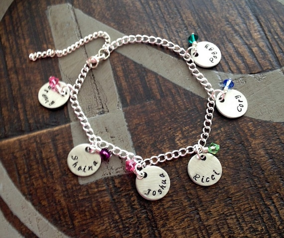hand ca dot bracelet silver anklet il stamped ankle listing rose personalized tone initial jewelry custom three gold