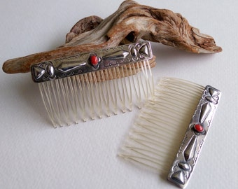 Navajo Sterling Silver Hair Combs with Coral Accent - Signed Willie Shaw - Gift for Her
