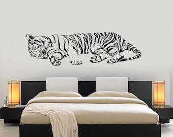 Wall Vinyl Decal Tiger Sleeping Jungle Africa Predator Cool Interior Decor 1452dz