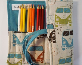 Pencil roll - Kombi, colored pencil roll, pencil organizer, pencil case