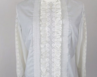 Vintage 60's Women's Blouse in Off White Poly Cotton Pintucks Pleated Ruffle and Lace Insets Size M / L