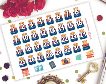 Luggage Countdown Numbers Date Planner Stickers | Life Planners | Travel | Retro | Map