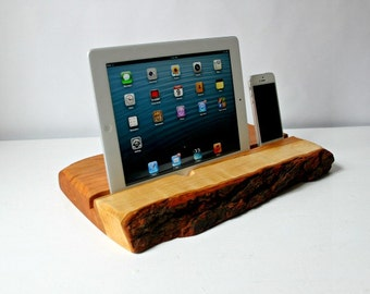 Phone and tablet docking station, reclaimed live edge wood, perfect gift