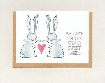 WELCOME to the WORLD SWeET BABIES . greeting card . twin twins . baby shower . nursery . new baby . bunny rabbit . birthday . australia