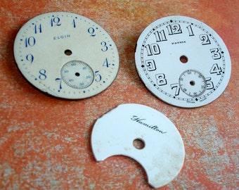 3 Vintage Pocket Watch Dials
