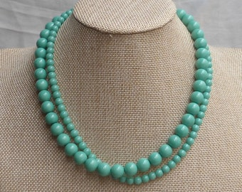 Turquoise Pearl Necklaces,Glass Pearl Necklace, 18 Inches Pearl Necklace, Two Strands Necklace,Bridesmaid necklace,Wedding Jewelry, Jewelry,