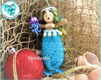 Mermaid Ornament with Crown and Squid, MO5