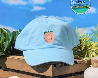 Cute Peach Emoji Embroidered Baseball Hat, Cute Peach Fruit Hat, Cute Gift, Choose Your Own Color Hat, Summer Hat, Low Profile Hat, Dad Hat