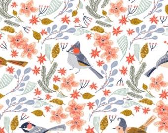 "Let It Snow ""Bird Wreath""-Dear stella Cotton Fabric-Bird, Floral"
