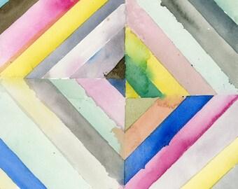Original Watercolor Painting, Geometric Art, Stripes, Fine Art, Modern Art, Abstract Art, Bohemian
