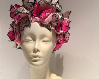Butterfly Headpiece- Butterfly Headdress-Derby- Spring Fascinator- Derby Hat- Tea Party Hat- Polo Match- Monarch- Fascinator