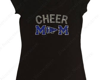 """Women's Rhinestone T-Shirt """" Cheer Mom with Megaphone """" in S, M, L, 1x, 2x, 3x Pick your Color"""
