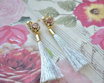 Long silver tassel stud earrings - Vintage swarovski crystal - Gold filled jewellery