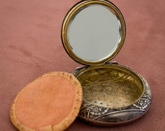 Compact mirror silver and Vermeil