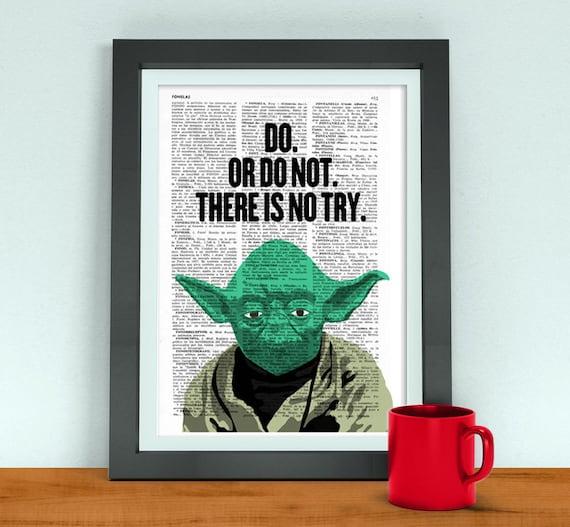 Yoda Quote Try Not: Star Wars Art Yoda Quote Husband Funny Birthday Gift