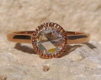 Rose Cut Moissanite in Rose Gold Milgrain Bezel Stacking Ring, Moissanite Engagement Ring, Rose Gold Engagement Ring