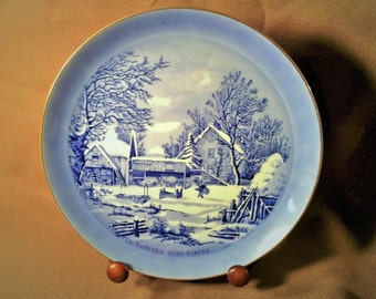 "Currier & Ives Decorative Collector Plate - Blue and White Design - ""The Farmers Home Winter"""