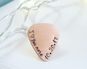 Personalized Guitar Pick - Hand Stamped Guitar Pick - Engraved Copper Pick  - Playable Guitar Pick - Gift for Him - Father's Day Gift