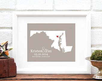 Maryland Map, State Map Maryland, Wedding Map, Personalized State Heart Map, Maryland State, First Anniversary Gift Paper -  Art Print