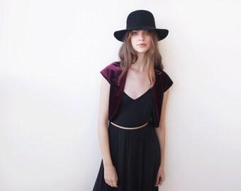 Burgundy velvet Bolero , Velvet short sleeves jacket, Red velvet shrug