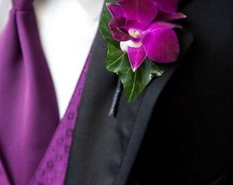 Purple Wedding Tie, Tie & Pocket Square Set, Men's Necktie Purple, Men's Pocket Square Purple, Wedding Mens Accessories Set, Wedding Gift