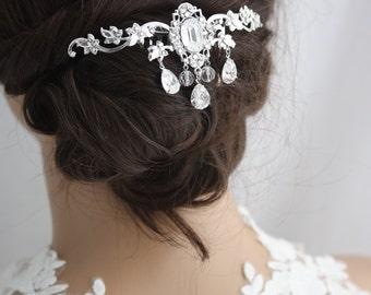Bridal Hair Comb Crystal Hair Piece Wedding Headpiece Veil Comb Leaf Headpiece Wedding Hair Accessories ROCHELLE