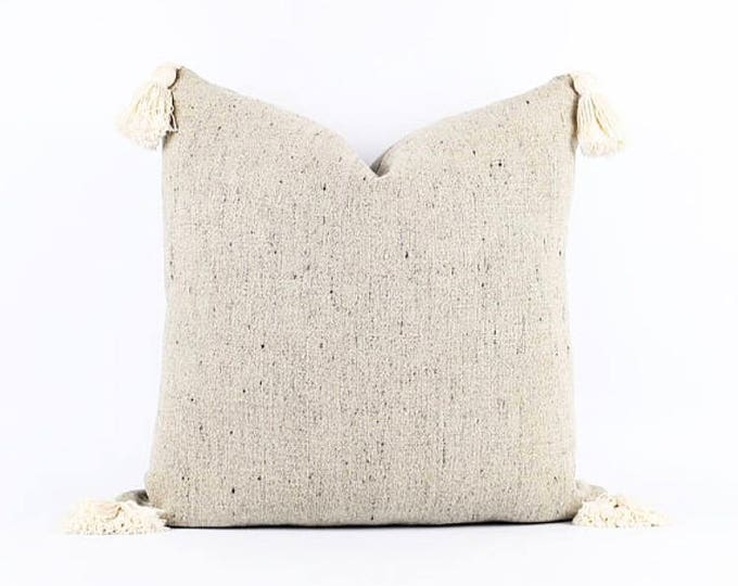 Authentic Flax With Black Belgian Linen And Tassel Pillow Cover Various sizes