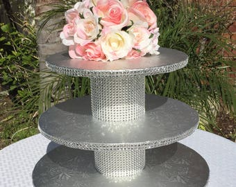 20-25 Cupcakes, 3 Tier Round Cupcake Stand, Silver Embossed Cake Drums, Rhinestone Mesh, Wedding, Quinceanera, Sweet 16, Birthday