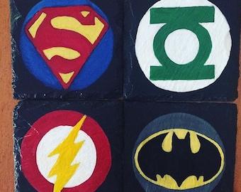 Customizable Slate Coasters/ Handpainted Coasters/ Superhero coasters