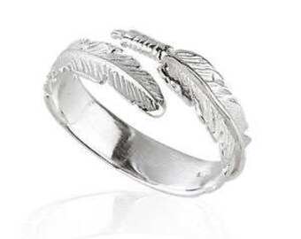 925  Sterling Silver Angel Wing Feather Adjustable Ring Size L-R comes Gift Boxed