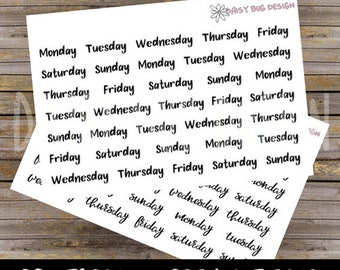Days of the Week PRINTABLE Lettering Stickers
