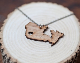 I heart Canada Bamboo - British Columbia Necklace Love Canada Necklace BC Necklace British Columbia Necklace Bamboo Necklace Charm Necklace