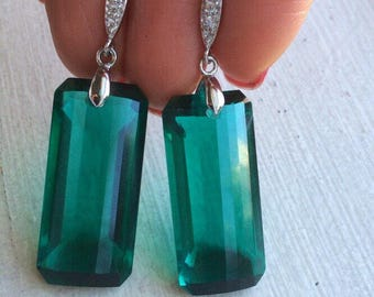 Sale Luxury Green Amethyst Gold pave posts Earrings