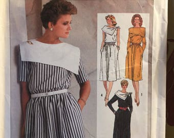 Vintage 80s Dress Sewing Pattern Simplicity 7304 Misses' size 12-14-16 Bust 34 to 38 inches Complete