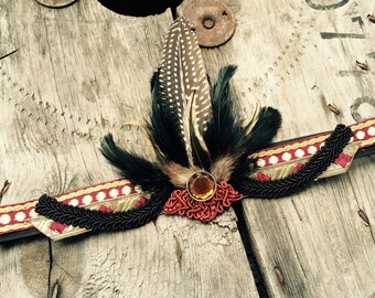 Wine red, black and gold feather headband flapper