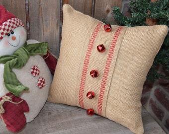 Christmas Pillow, Christmas Burlap Pillow, Winter Burlap Pillow, Red Jingle Bells,  12x12 Pillow, Xmas Pillow, Xmas Burlap Pillow